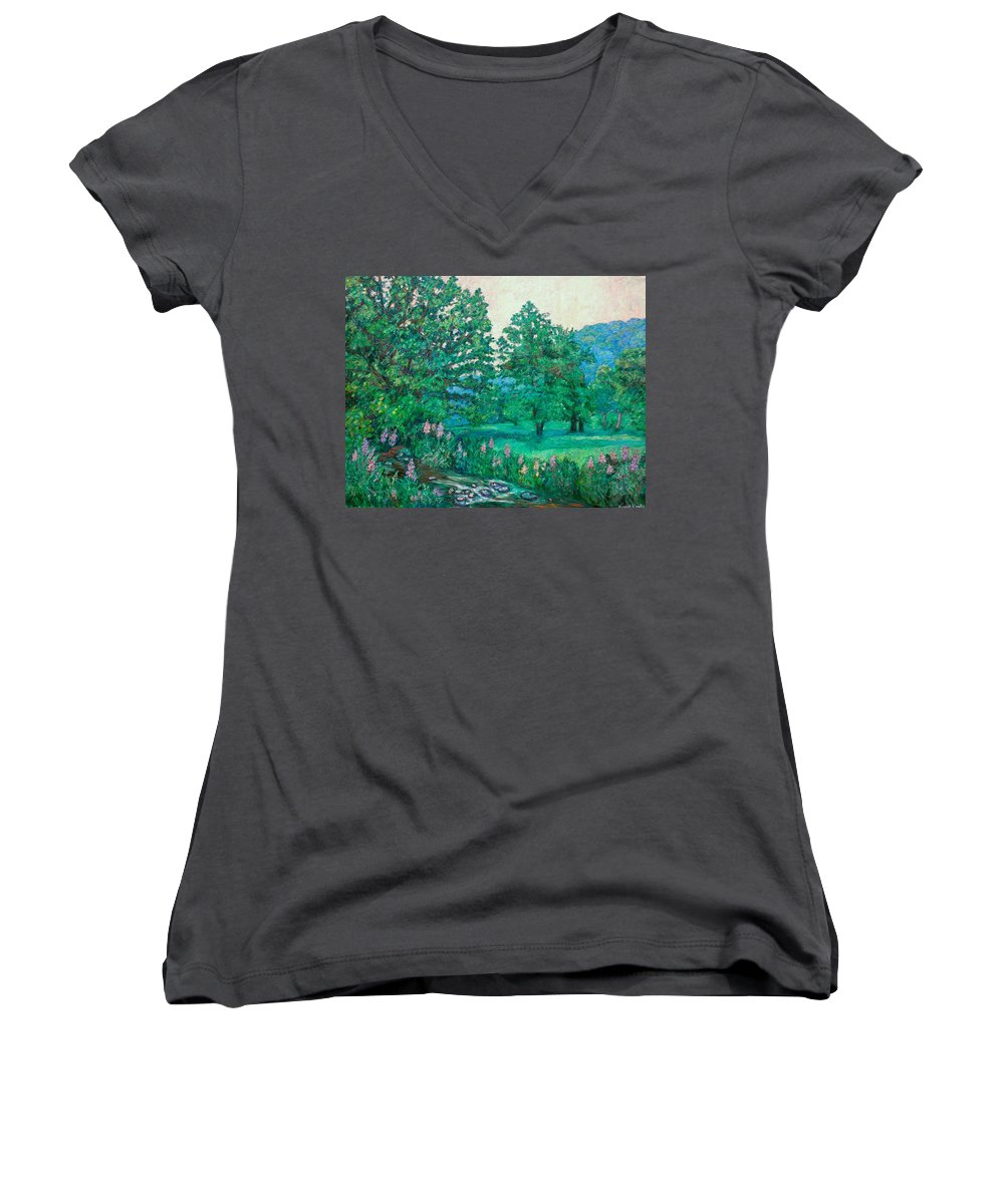 Landscape Women's V-Neck (Athletic Fit) featuring the painting Park Road In Radford by Kendall Kessler