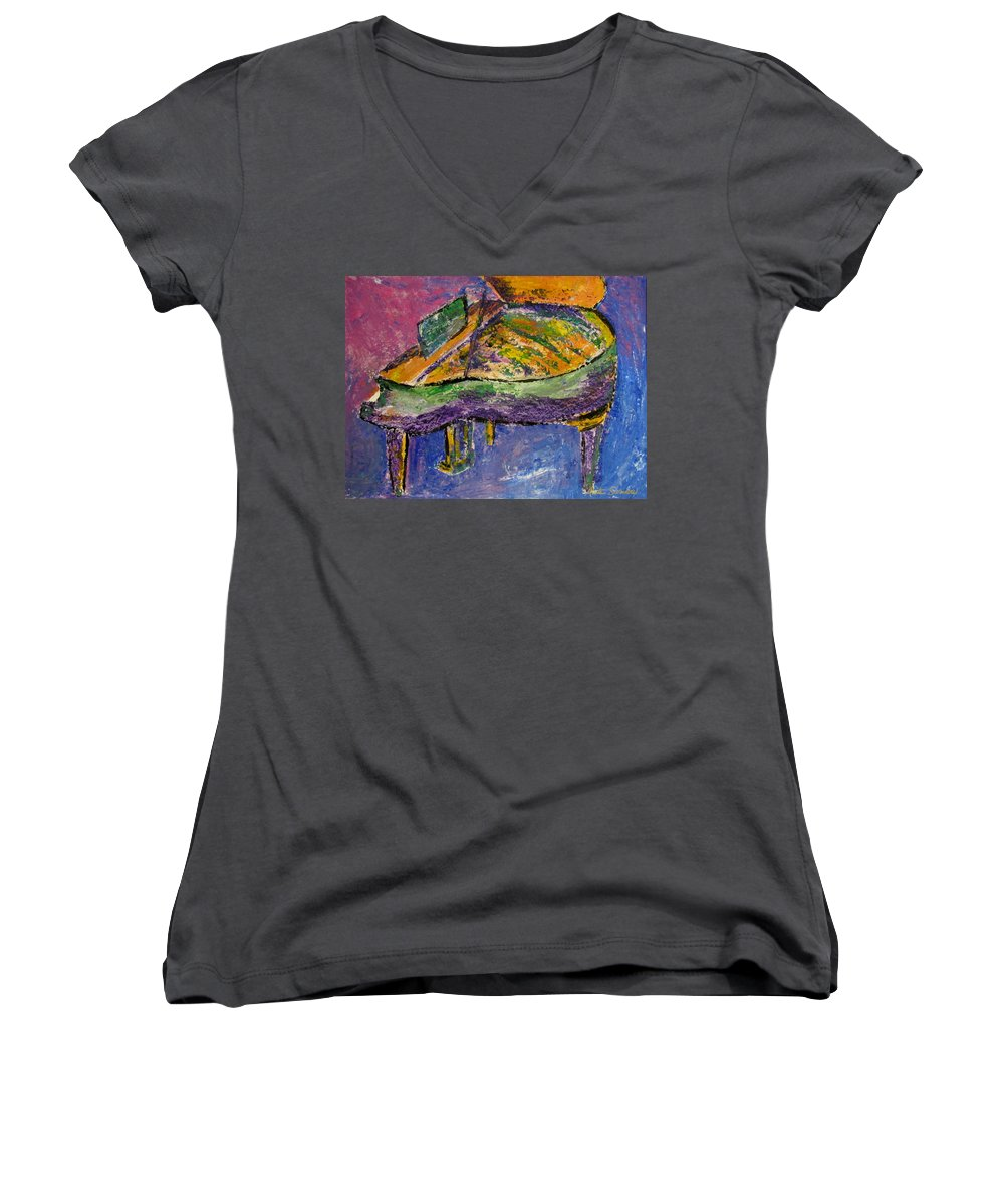 Impressionist Women's V-Neck (Athletic Fit) featuring the painting Piano Purple by Anita Burgermeister