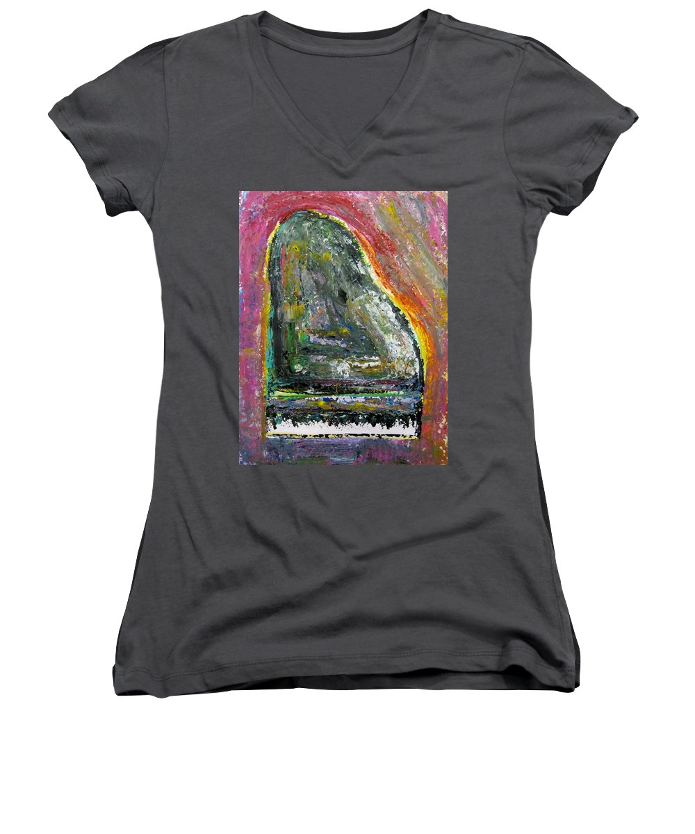 Impressionist Women's V-Neck T-Shirt featuring the painting Piano Red by Anita Burgermeister