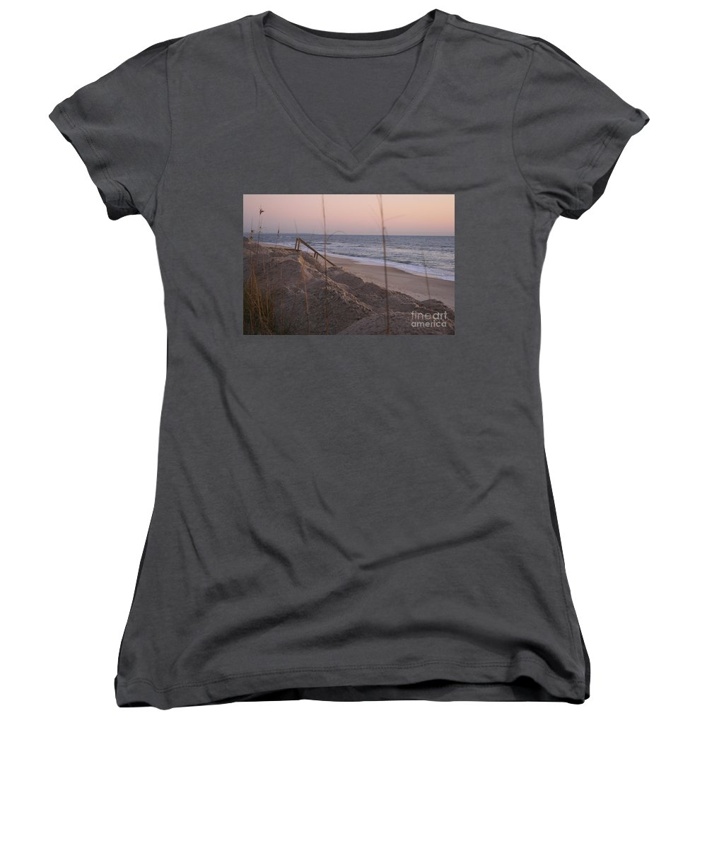 Pink Women's V-Neck T-Shirt featuring the photograph Pink Sunrise On The Beach by Nadine Rippelmeyer