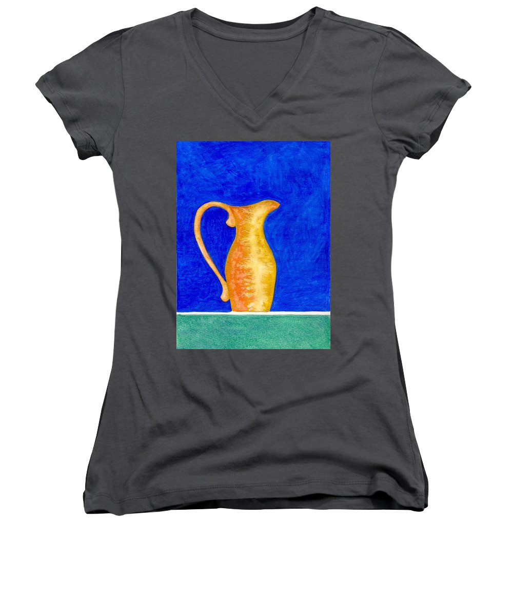 Still Life Women's V-Neck T-Shirt featuring the painting Pitcher 2 by Micah Guenther