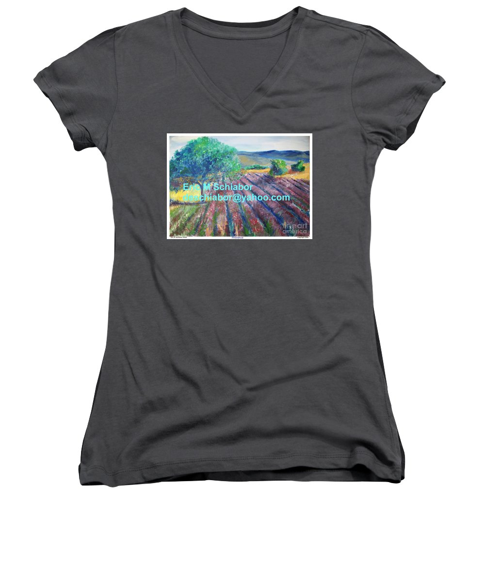 The Actor Women's V-Neck T-Shirt featuring the painting Provence Lavender Field by Eric Schiabor