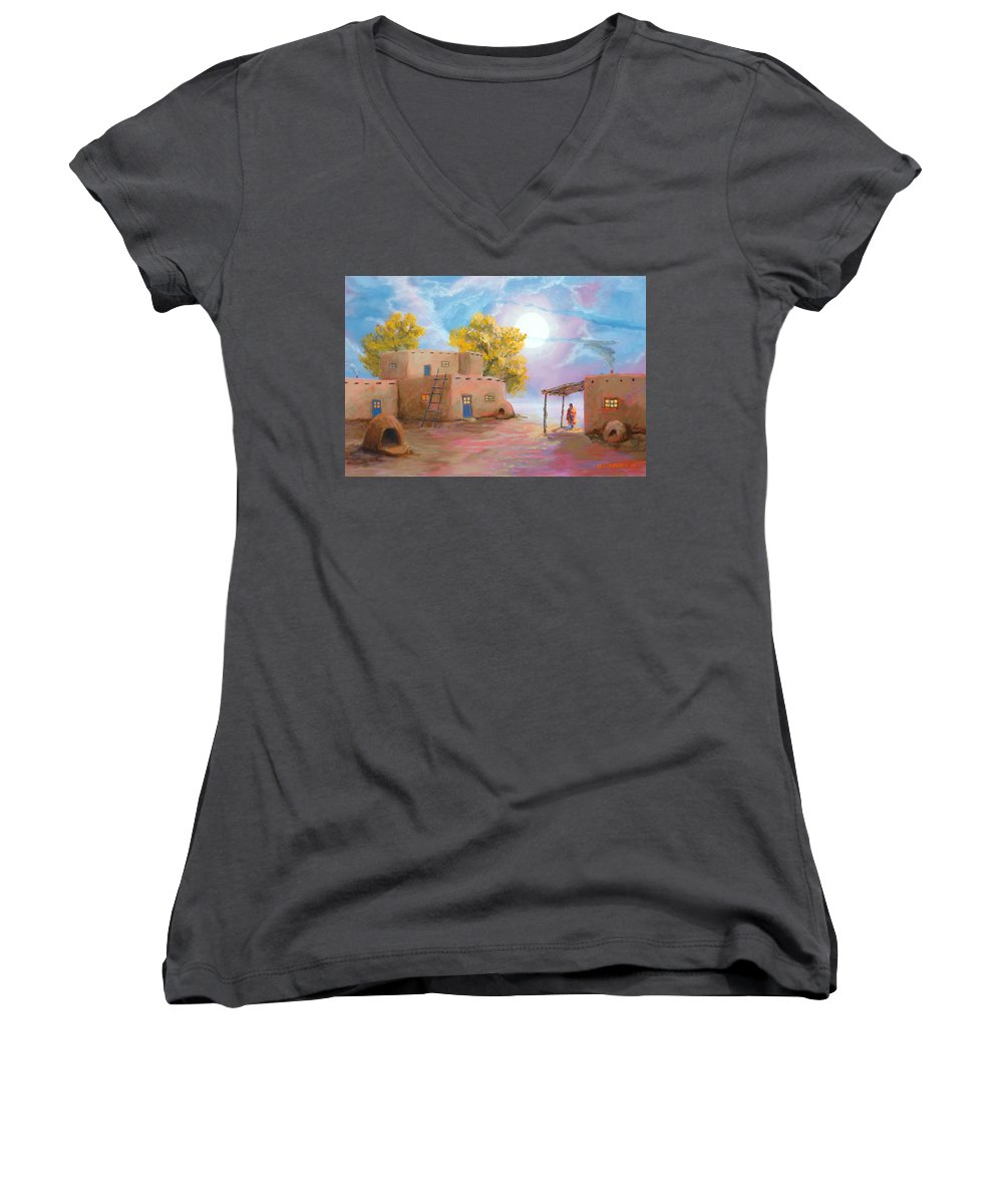 Pueblo Women's V-Neck (Athletic Fit) featuring the painting Pueblo De Las Lunas by Jerry McElroy
