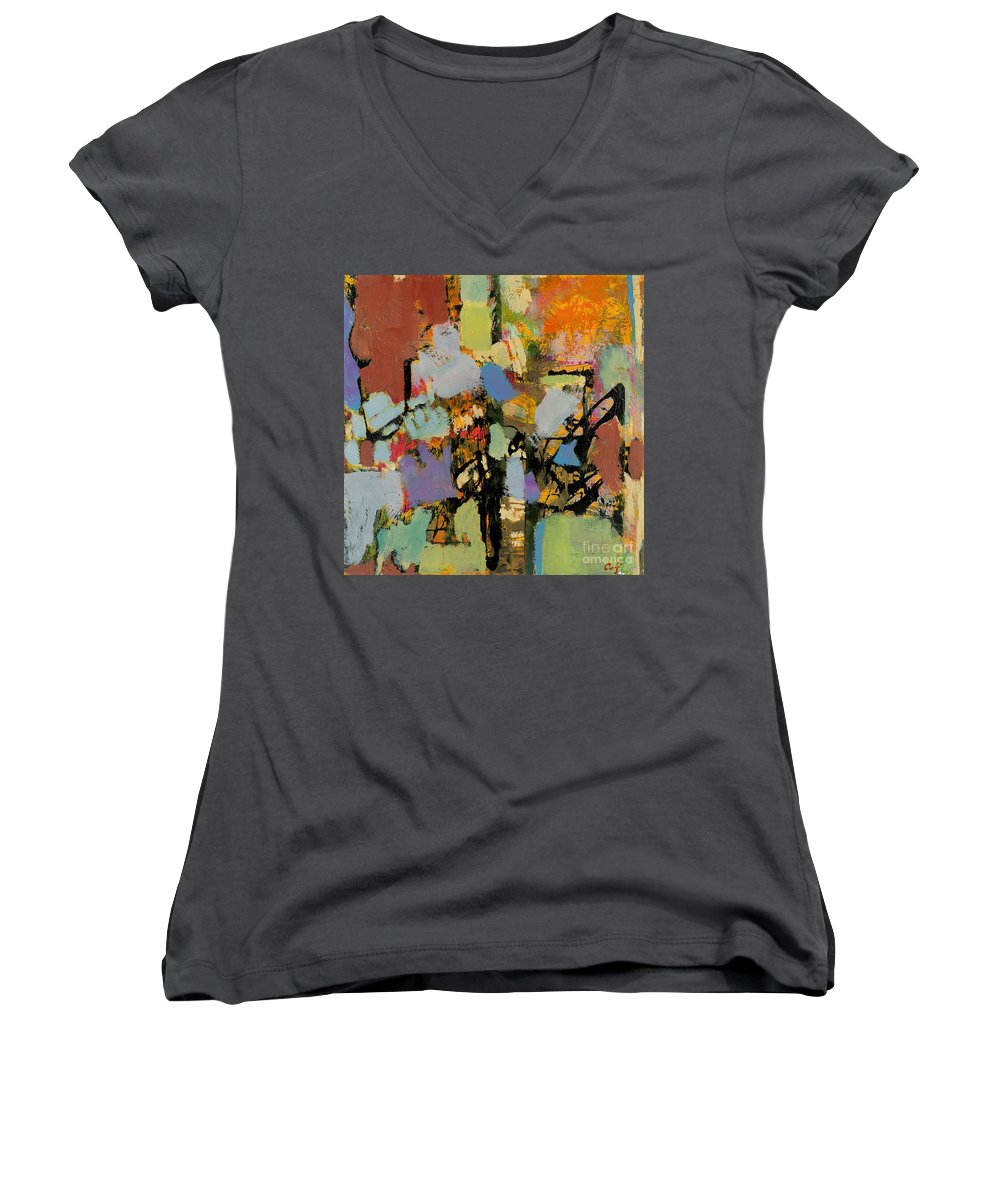 Landscape Women's V-Neck (Athletic Fit) featuring the painting Quick Racing by Allan P Friedlander