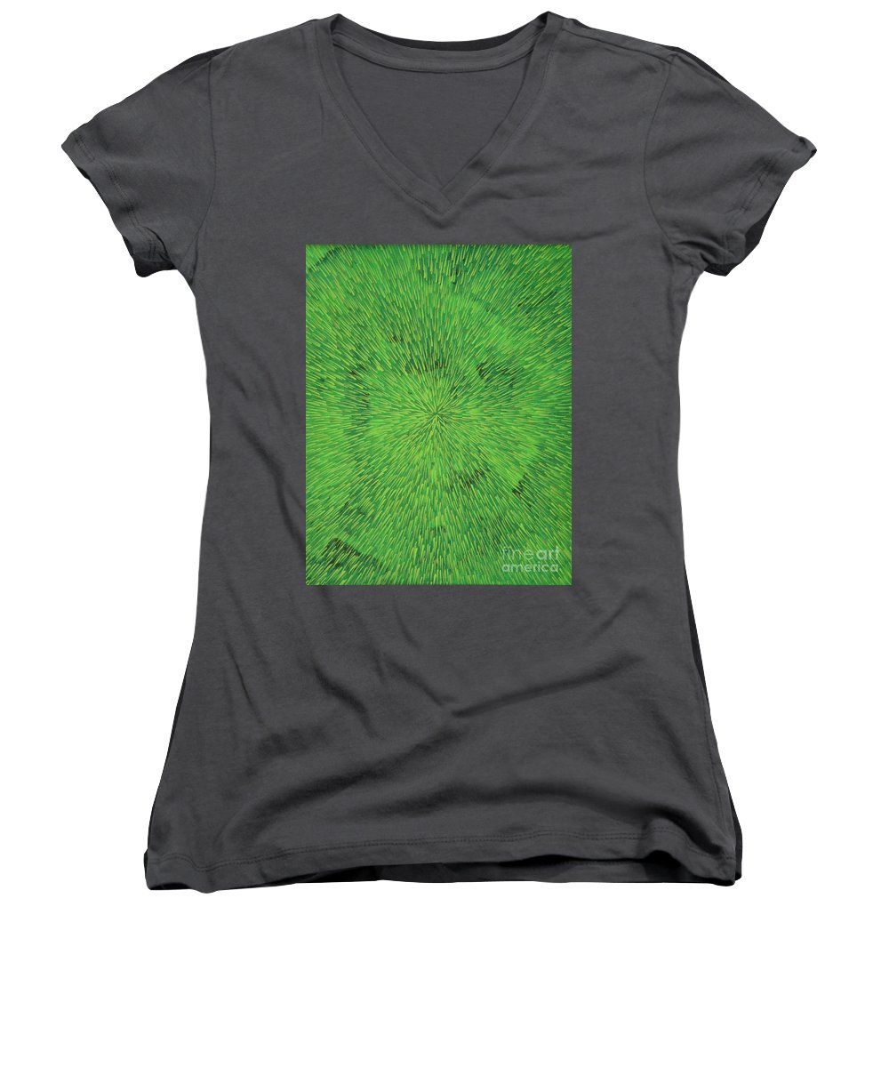 Abstract Women's V-Neck T-Shirt featuring the painting Radiation Green by Dean Triolo