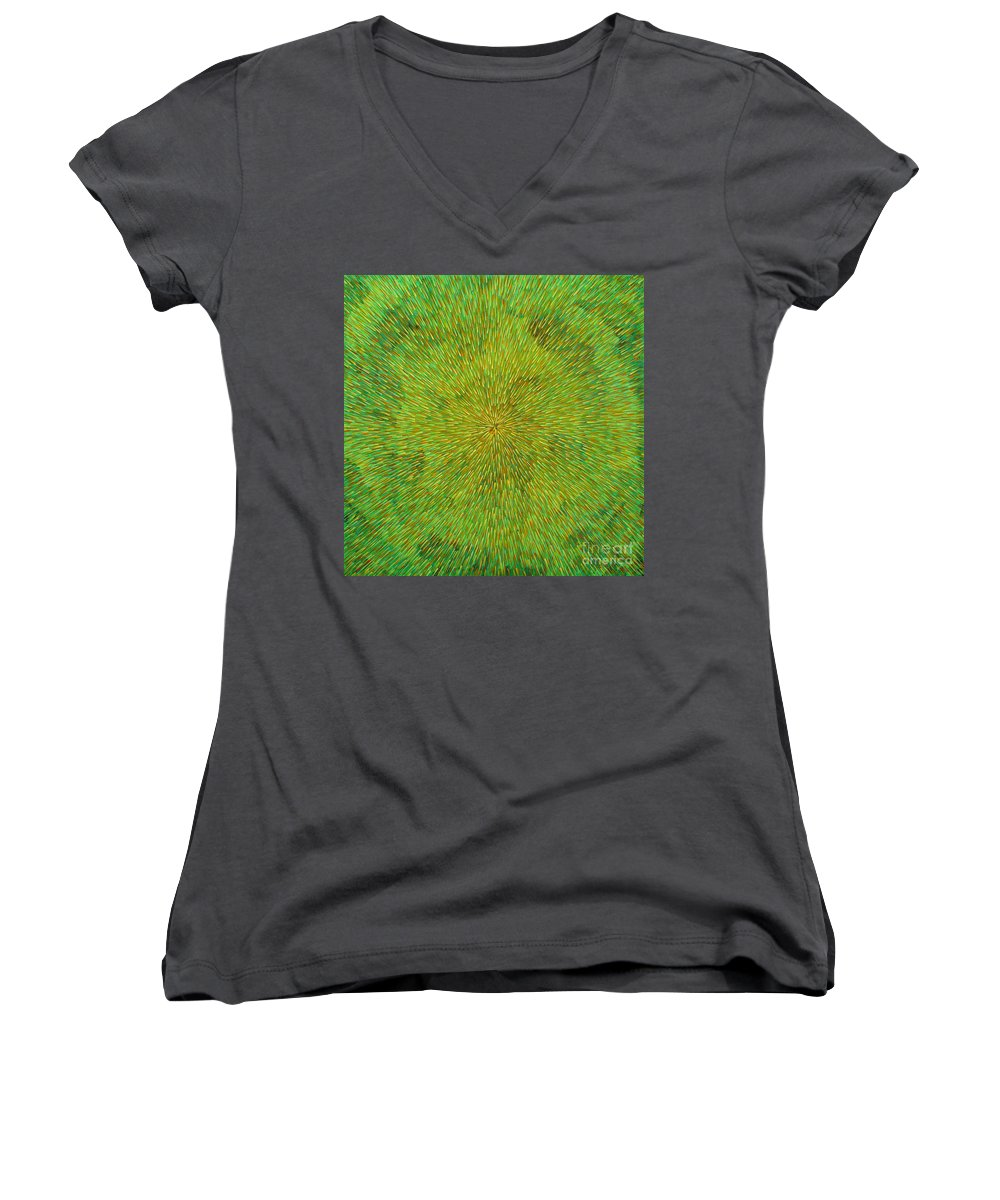 Abstract Women's V-Neck T-Shirt featuring the painting Radiation With Green Yellow And Orange by Dean Triolo