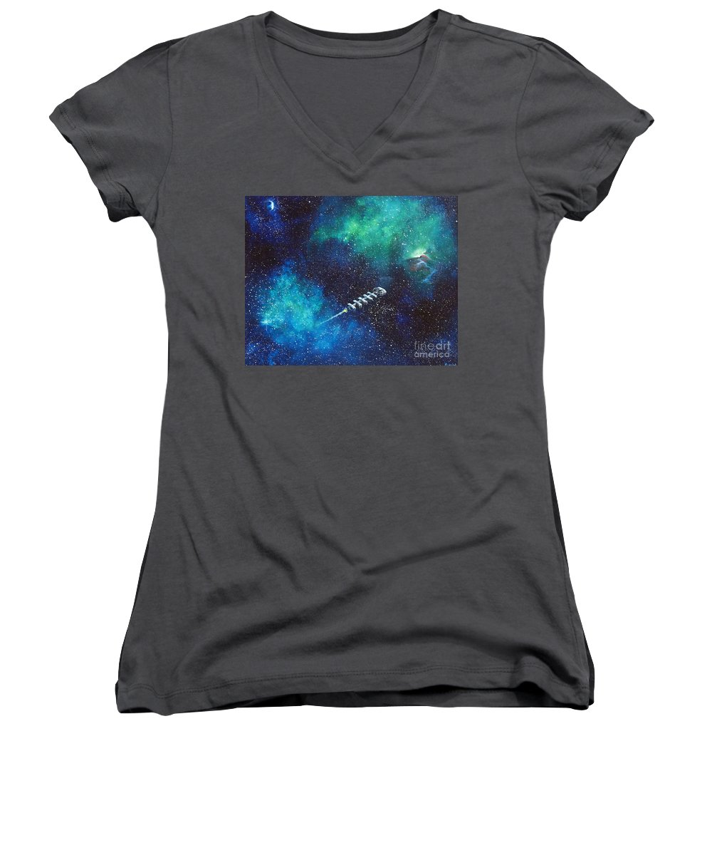 Spacescape Women's V-Neck T-Shirt featuring the painting Reaching Out by Murphy Elliott