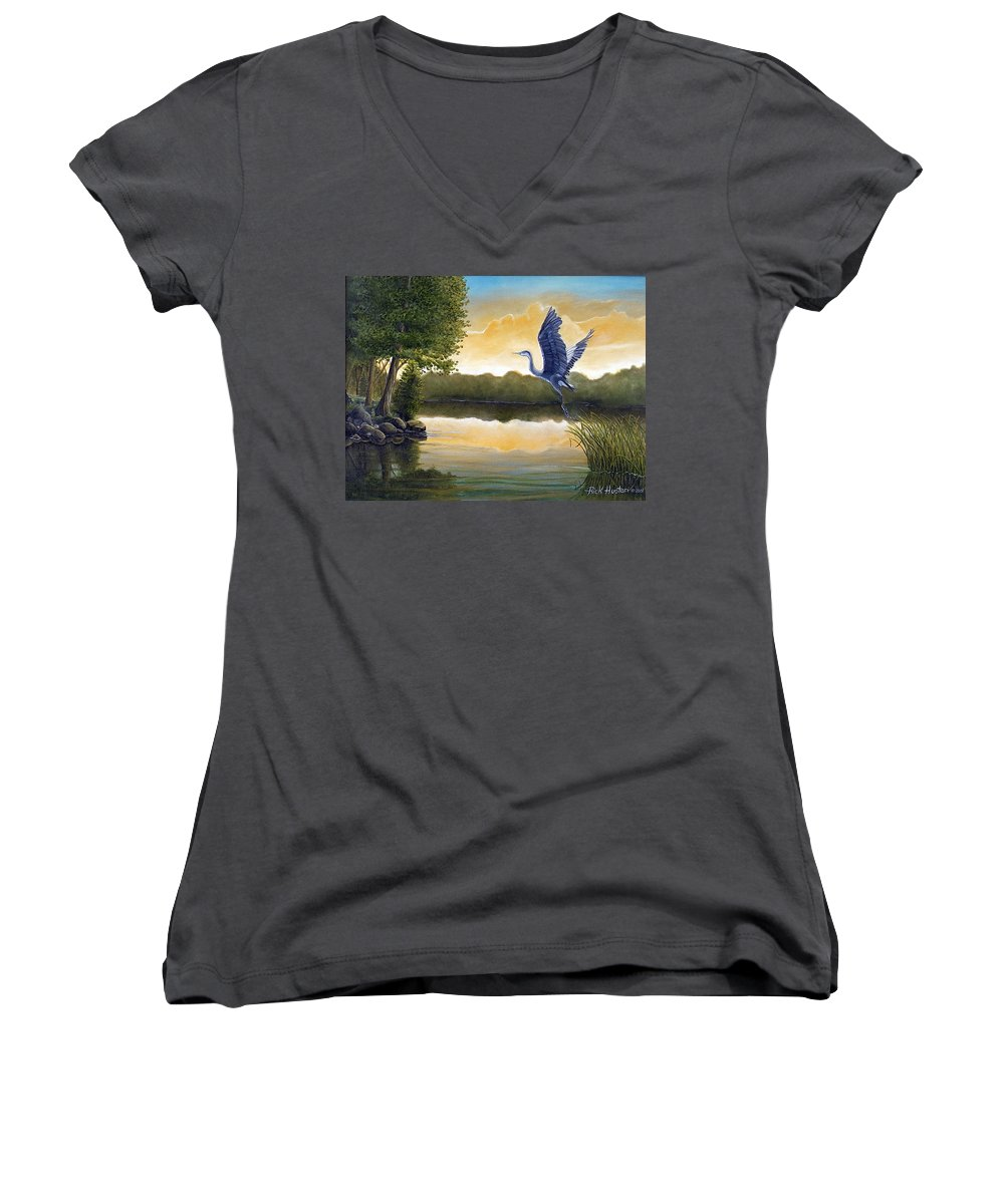 Rick Huotari Women's V-Neck (Athletic Fit) featuring the painting Serenity by Rick Huotari