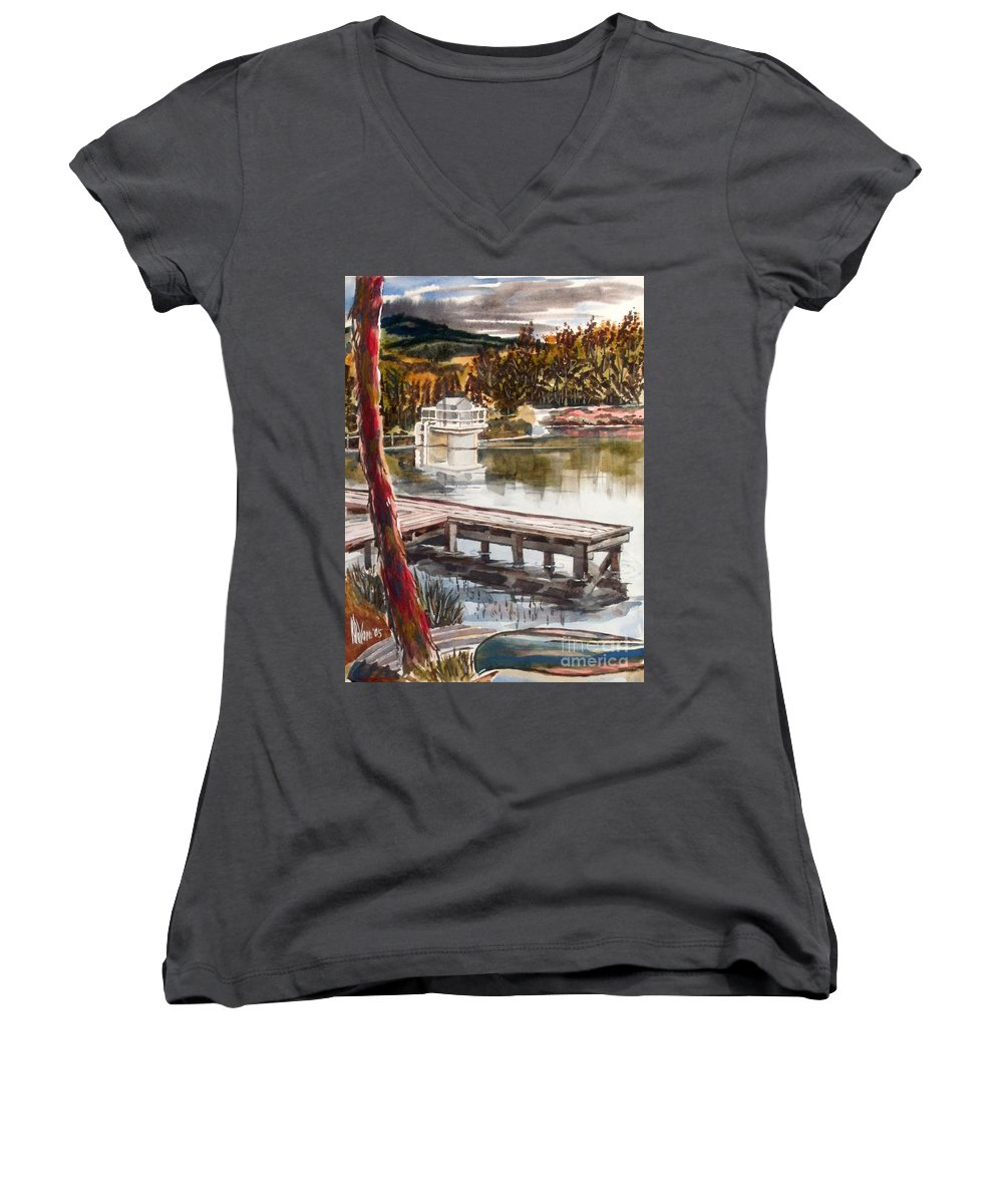Shepherd Mountain Lake In Twilight Women's V-Neck (Athletic Fit) featuring the painting Shepherd Mountain Lake In Twilight by Kip DeVore