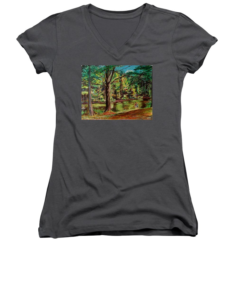 New Hampshire Women's V-Neck T-Shirt featuring the pastel Sisters At Wason Pond by Sean Connolly