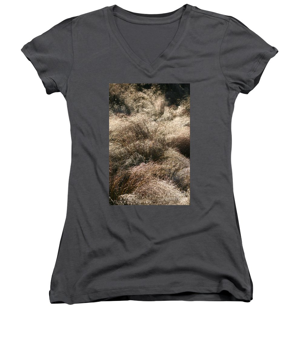Grasses Women's V-Neck (Athletic Fit) featuring the photograph Sparkling Grasses by Nadine Rippelmeyer