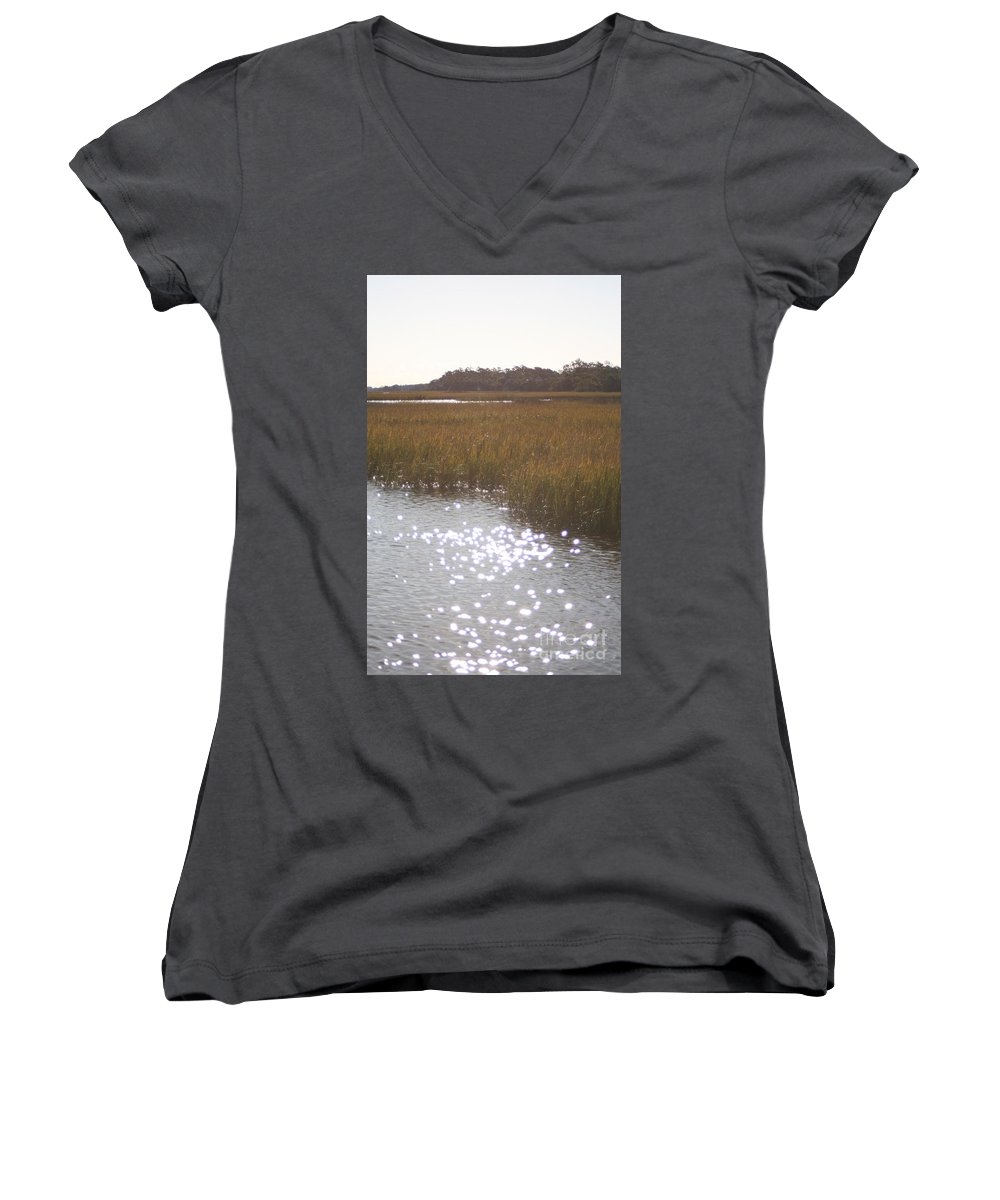 Marsh Women's V-Neck T-Shirt featuring the photograph Sparkling Marsh by Nadine Rippelmeyer