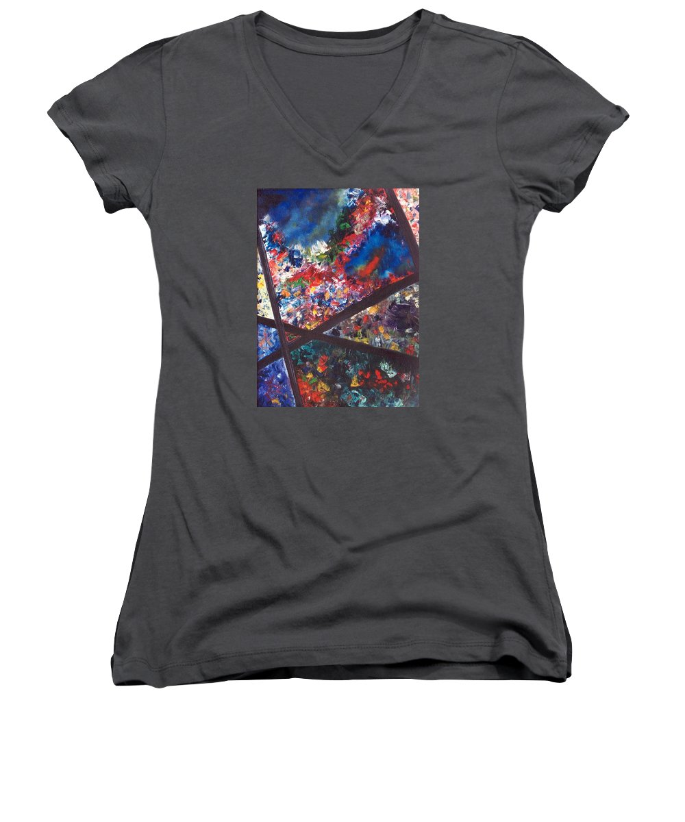 Abstract Women's V-Neck (Athletic Fit) featuring the painting Spectral Chaos by Micah Guenther