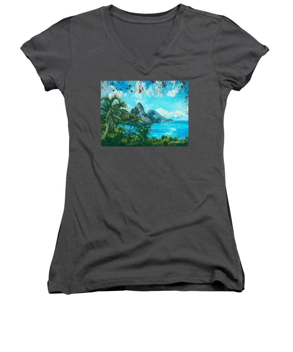 Mountains Women's V-Neck (Athletic Fit) featuring the painting St. Lucia - W. Indies by Elisabeta Hermann