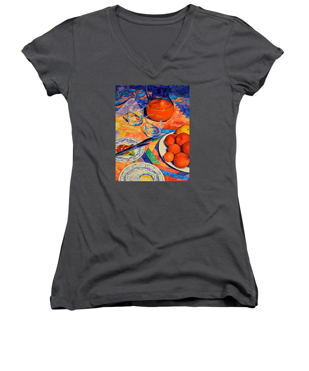 Still Life Women's V-Neck (Athletic Fit) featuring the painting Still Life 1 by Iliyan Bozhanov