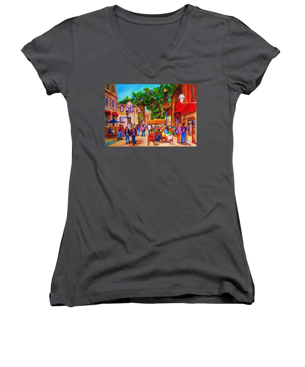 Summer Cafes Montreal Street Scenes Women's V-Neck T-Shirt featuring the painting Summer Cafes by Carole Spandau