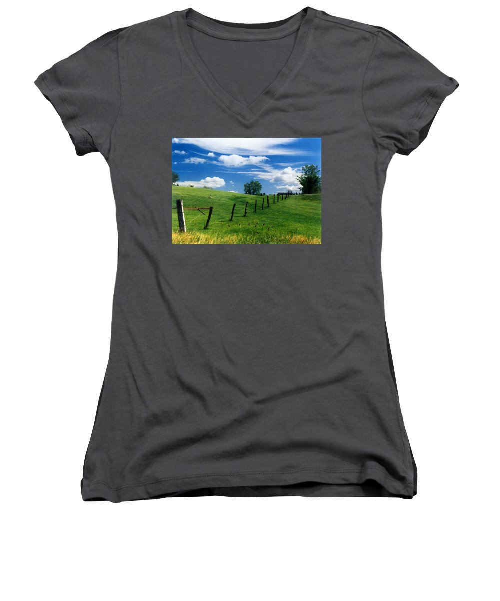 Summer Landscape Women's V-Neck T-Shirt featuring the photograph Summer Landscape by Steve Karol