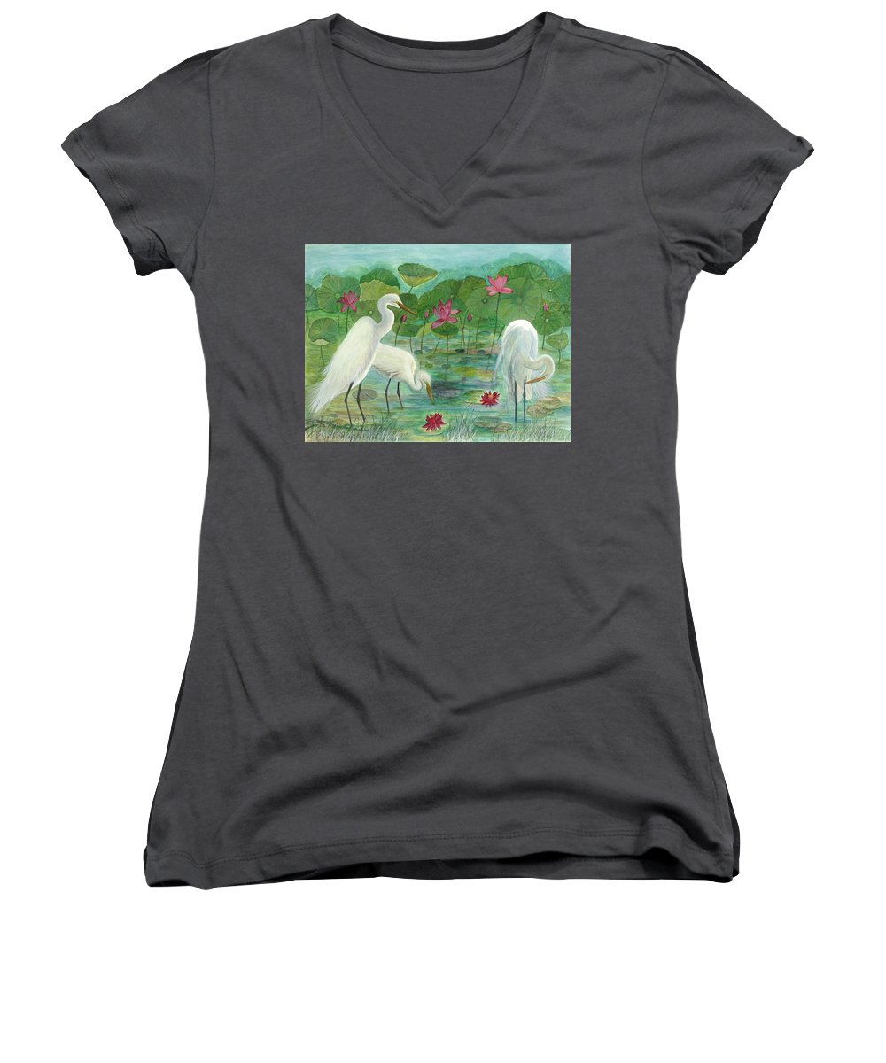 Lily Pads; Egrets; Low Country Women's V-Neck T-Shirt featuring the painting Summer Trilogy by Ben Kiger