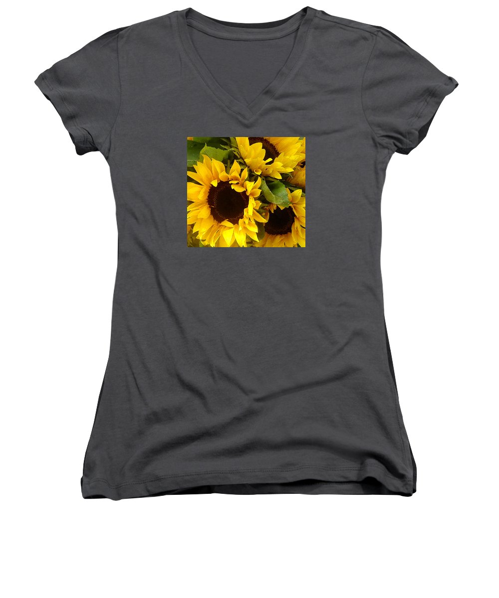 Sunflowers Women's V-Neck T-Shirt featuring the painting Sunflowers by Amy Vangsgard