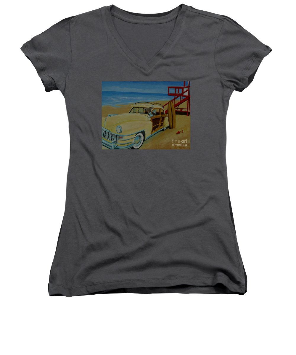 Woody Women's V-Neck T-Shirt featuring the painting Surfers Woody by Anthony Dunphy