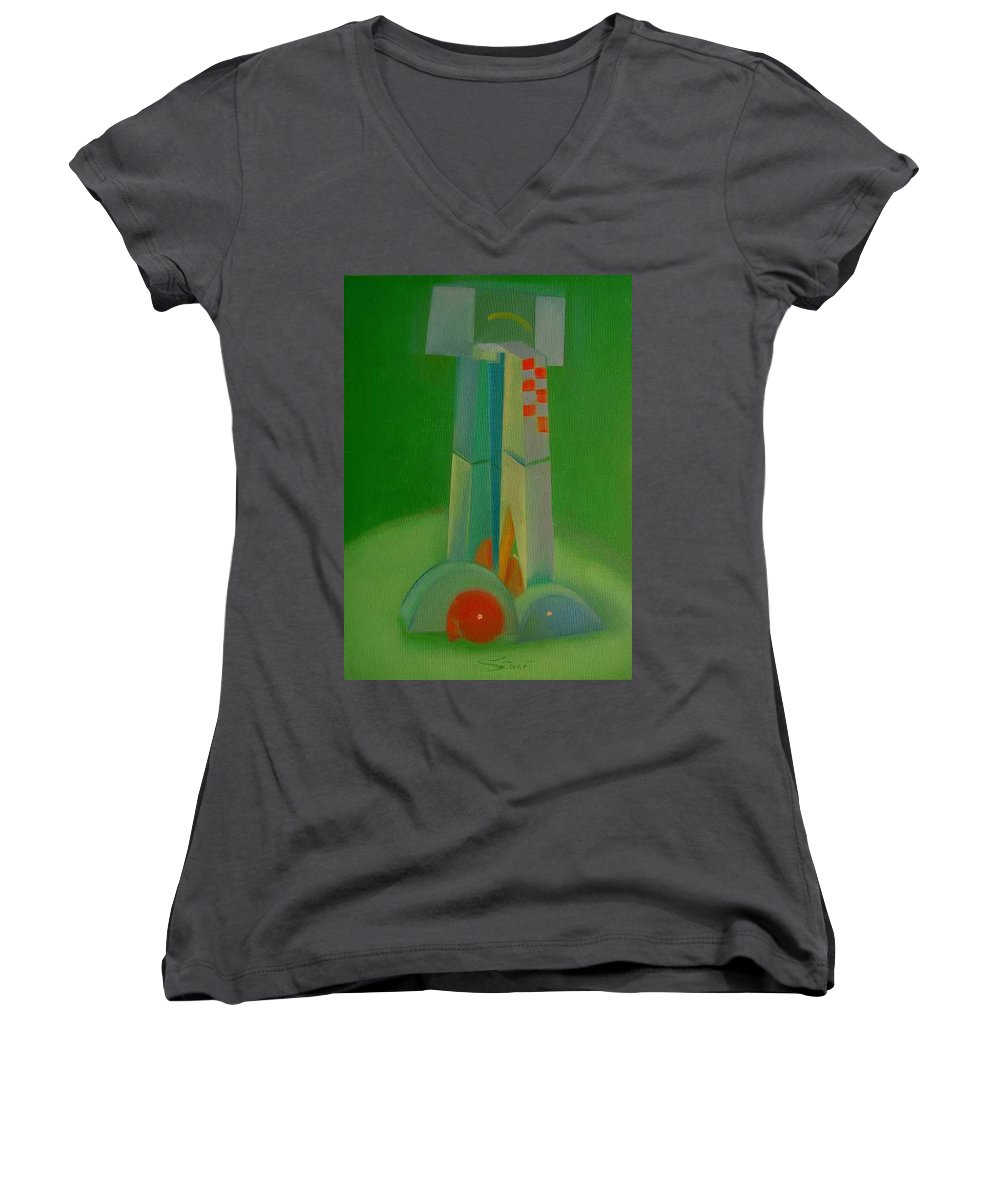 Cubist View Of Figure Women's V-Neck (Athletic Fit) featuring the painting Survivors by Charles Stuart