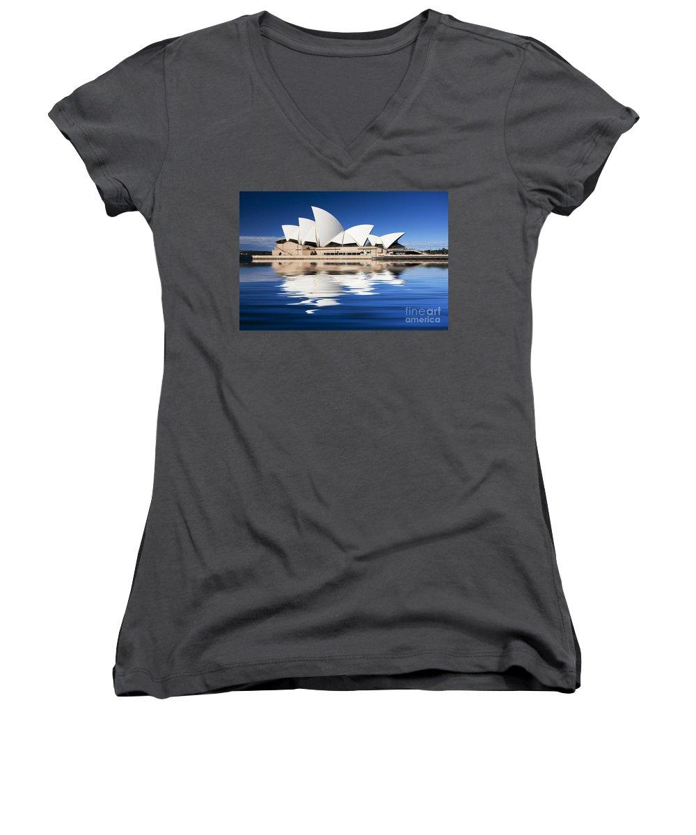 Sydney Opera House Women's V-Neck T-Shirt featuring the photograph Sydney Icon by Avalon Fine Art Photography