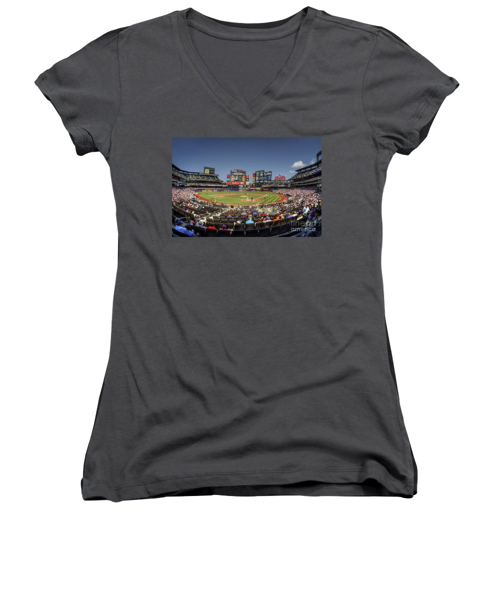 Citi Field Women's V-Neck featuring the photograph Take Me Out To The Ballgame by Evelina Kremsdorf