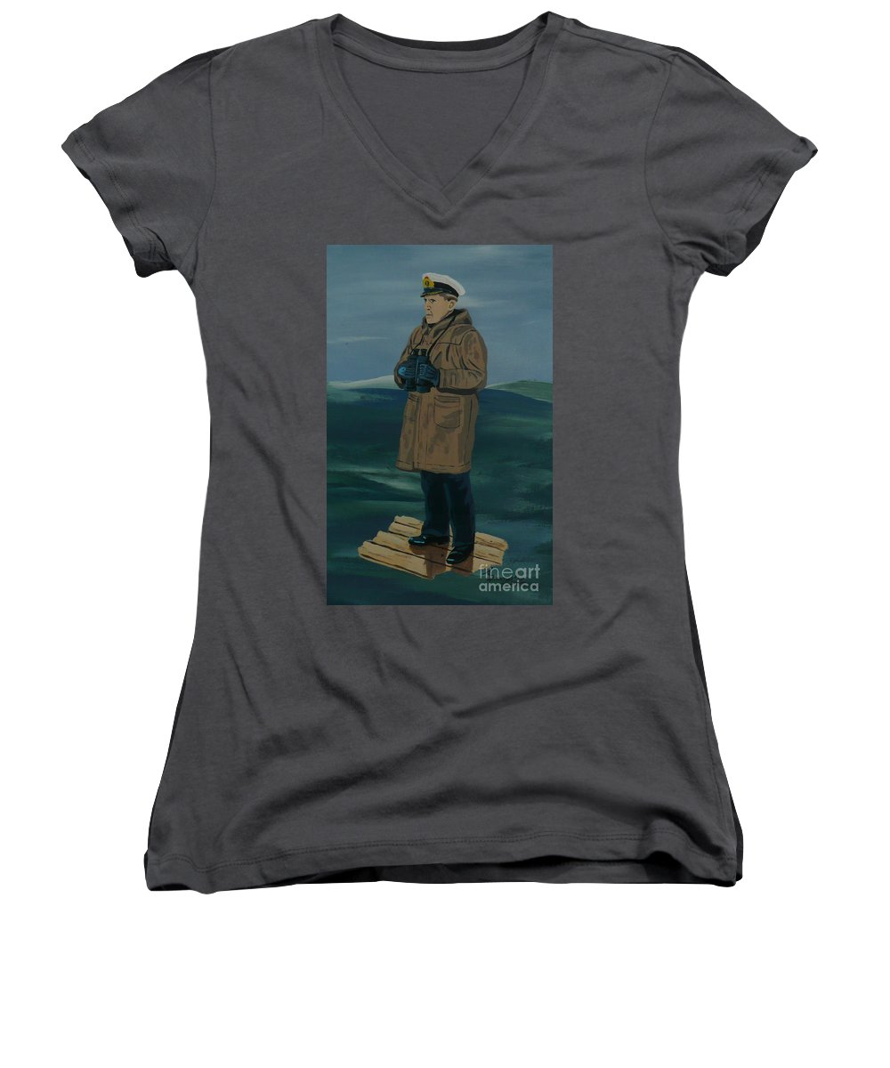 Captain Women's V-Neck (Athletic Fit) featuring the painting The Captain by Anthony Dunphy