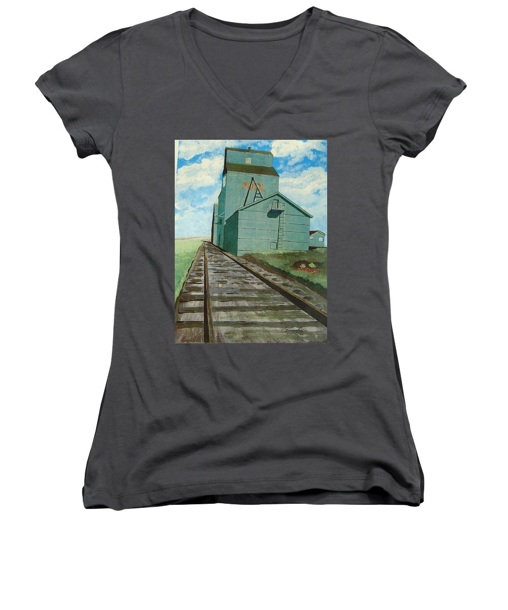 Elevator Women's V-Neck T-Shirt featuring the painting The Grain Elevator by Anthony Dunphy