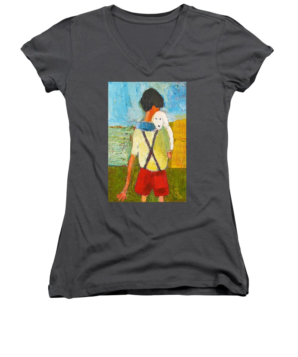 Abstract Women's V-Neck T-Shirt featuring the painting The Little Puppy by Habib Ayat