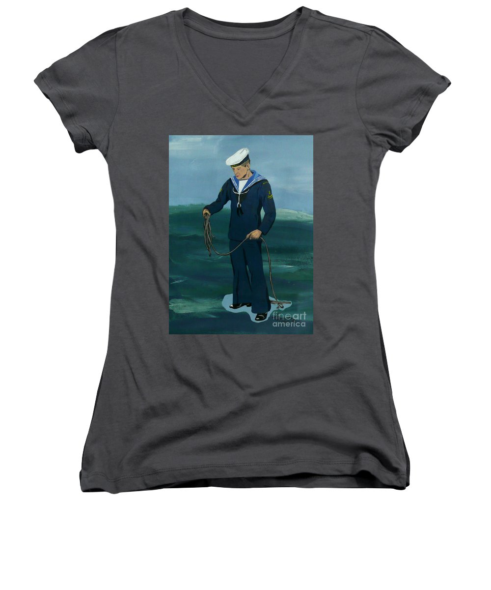 Sailor Women's V-Neck (Athletic Fit) featuring the painting The Sailor by Anthony Dunphy