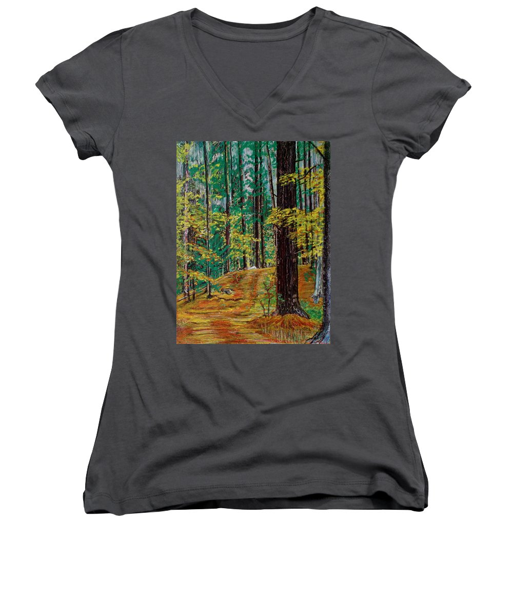 New Hampshire Women's V-Neck (Athletic Fit) featuring the pastel Trail At Wason Pond by Sean Connolly