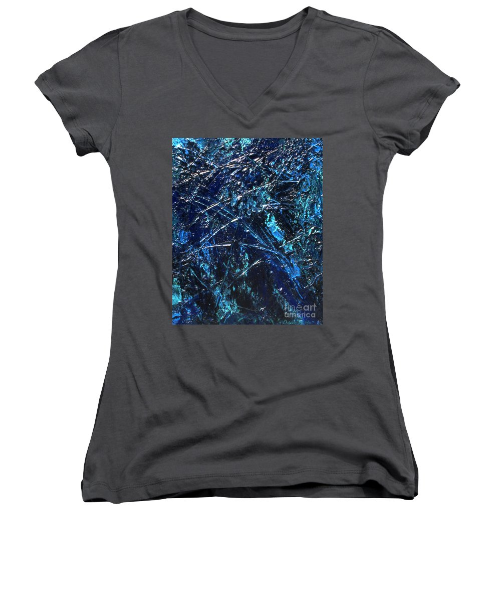 Abstract Women's V-Neck T-Shirt featuring the painting Transitions I by Dean Triolo