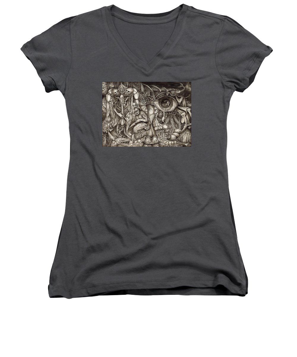 Surreal Women's V-Neck T-Shirt featuring the drawing Tripping Through Bogomils Mind by Otto Rapp