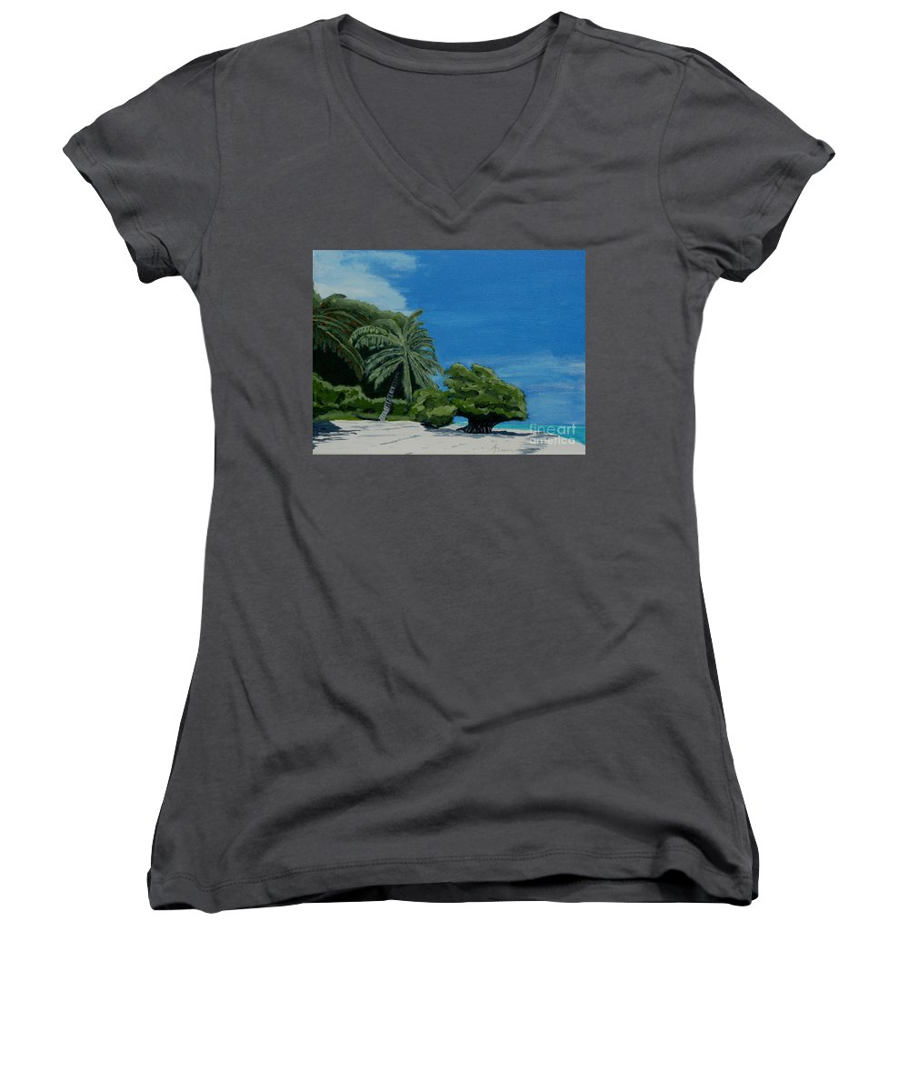Beach Women's V-Neck T-Shirt featuring the painting Tropical Beach by Anthony Dunphy