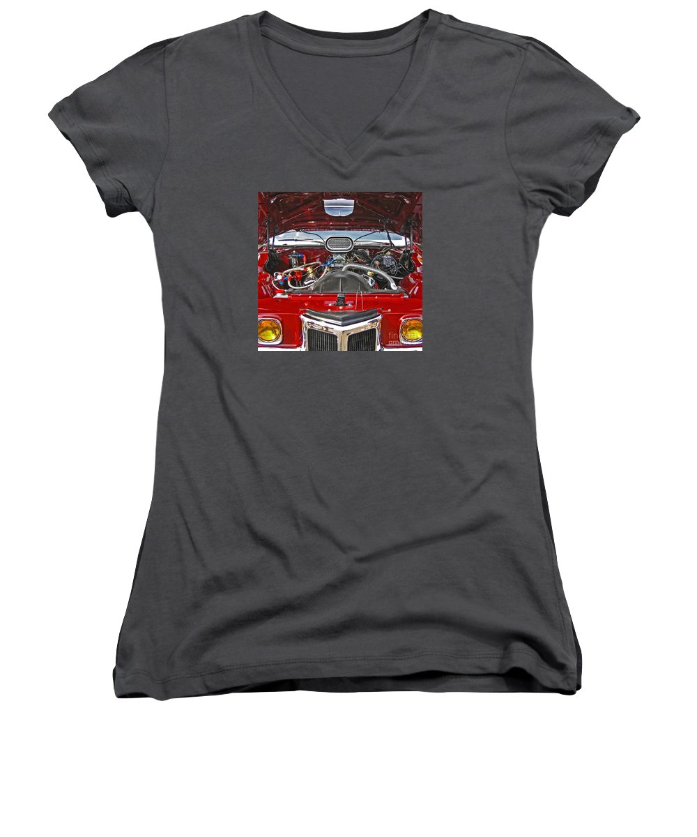 Car Women's V-Neck (Athletic Fit) featuring the photograph Under The Hood by Ann Horn