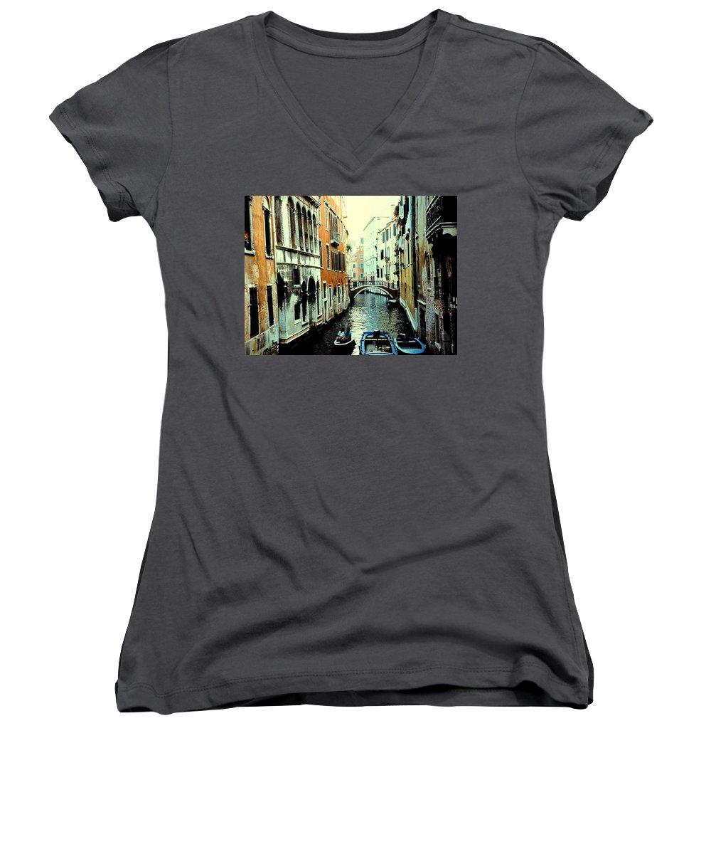 Venice Women's V-Neck T-Shirt featuring the photograph Venice Street Scene by Ian MacDonald