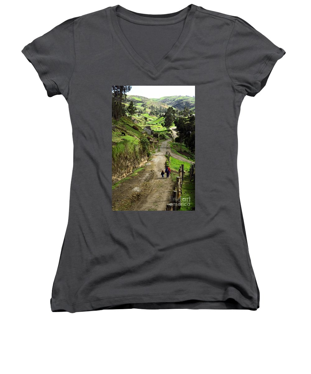 Ecuador Women's V-Neck T-Shirt featuring the photograph View Of Lupaxi by Kathy McClure