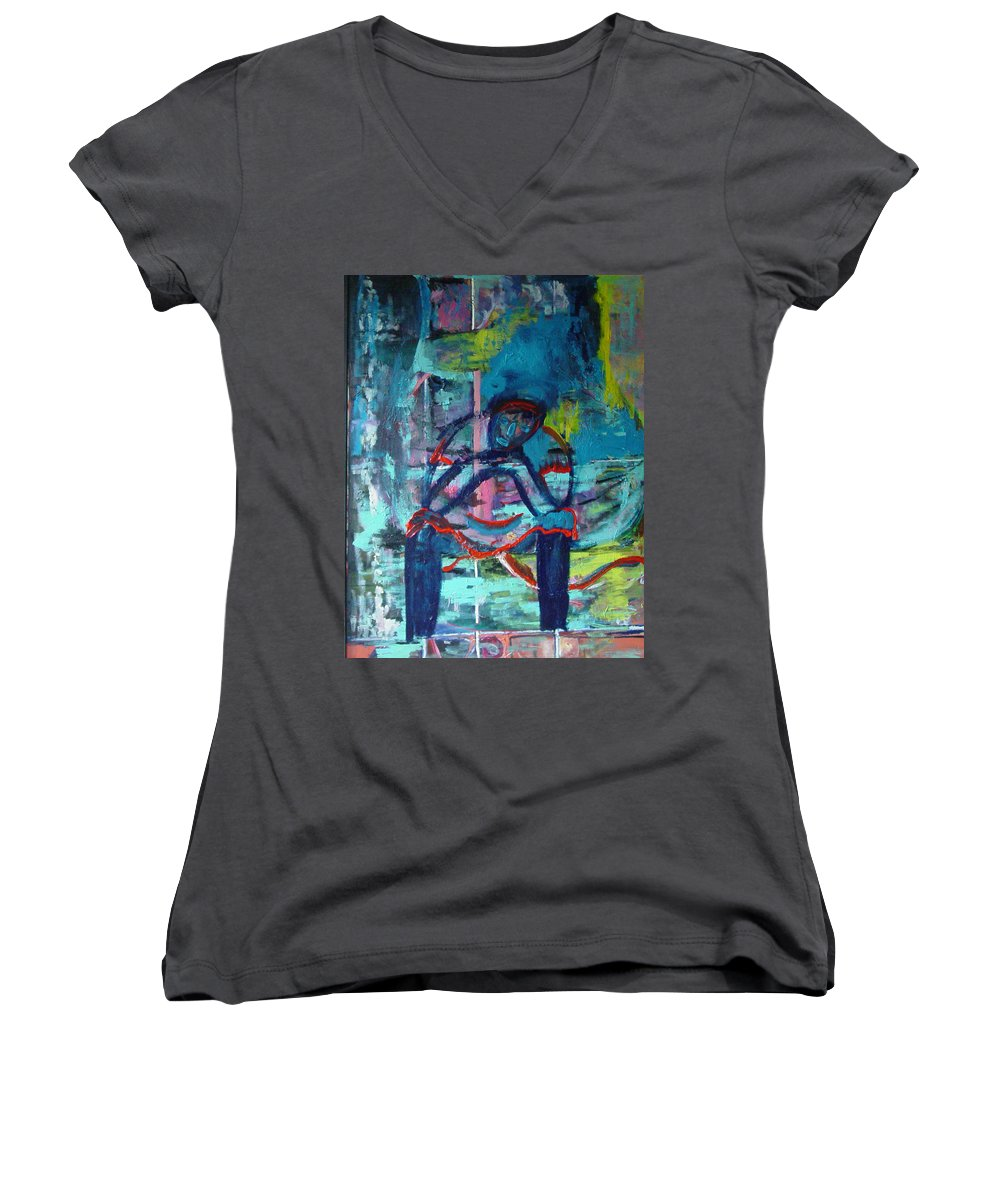 Woman On Bench Women's V-Neck T-Shirt featuring the painting Waiting by Peggy Blood
