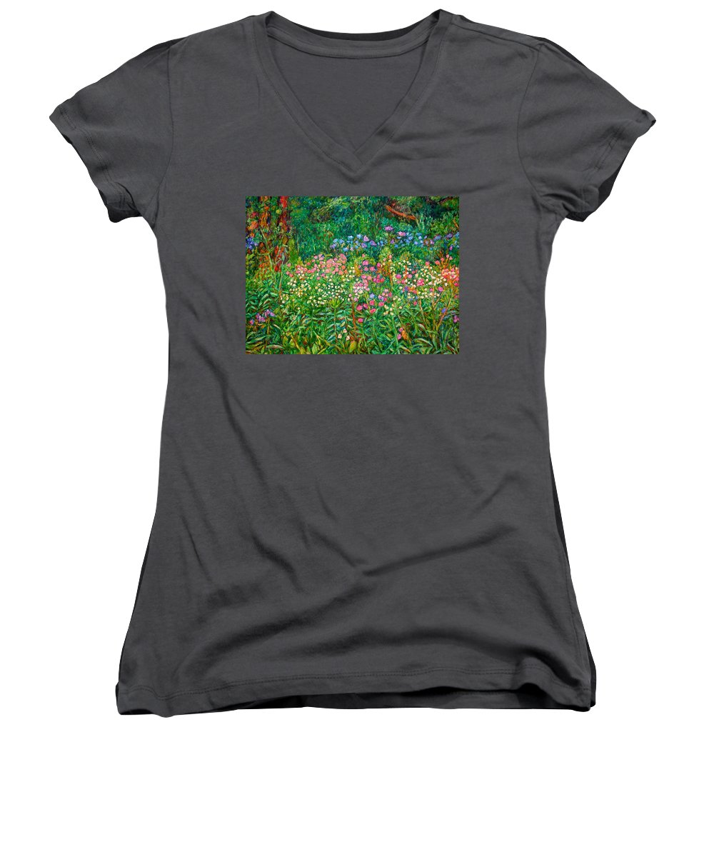 Floral Women's V-Neck T-Shirt featuring the painting Wildflowers Near Fancy Gap by Kendall Kessler