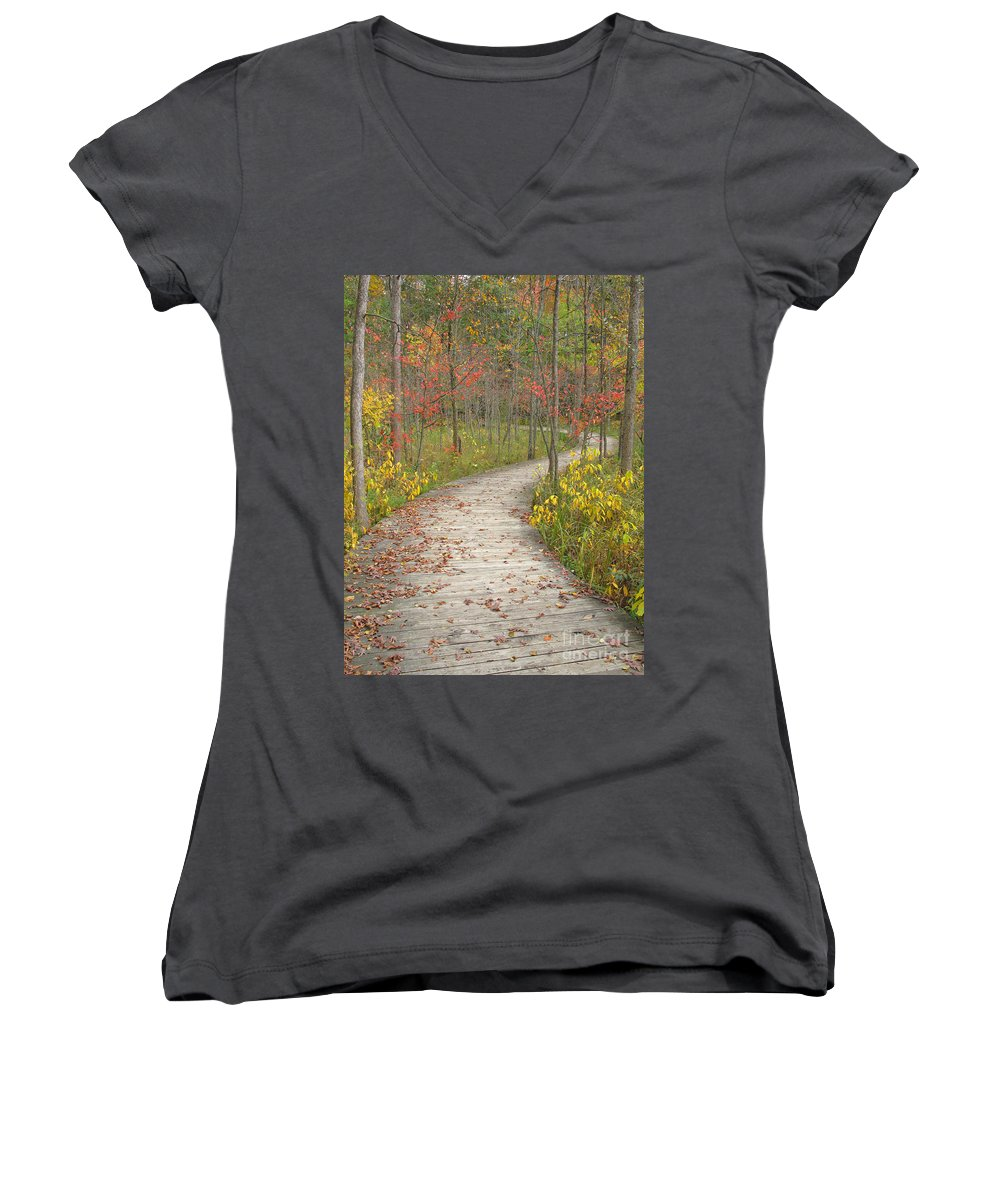 Autumn Women's V-Neck T-Shirt featuring the photograph Winding Woods Walk by Ann Horn