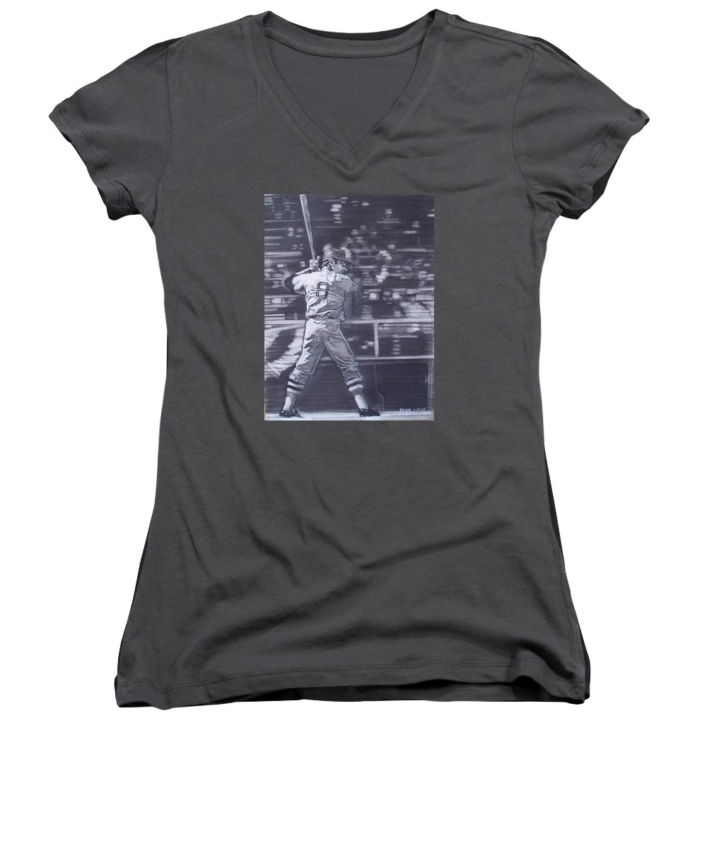 Charcoal Women's V-Neck (Athletic Fit) featuring the drawing Yaz - Carl Yastrzemski by Sean Connolly