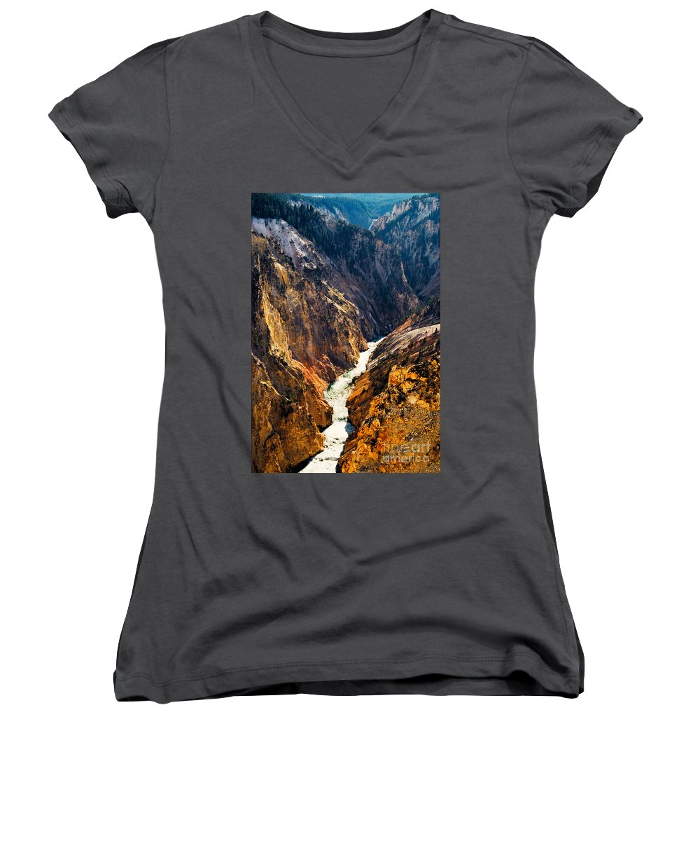 Yellowstone Women's V-Neck T-Shirt featuring the photograph Yellowstone River by Kathy McClure