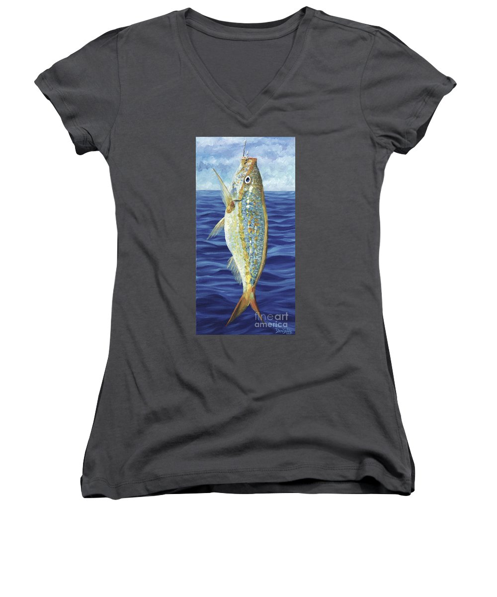 Snapper Women's V-Neck T-Shirt featuring the painting Yellowtail On The Menu by Danielle Perry