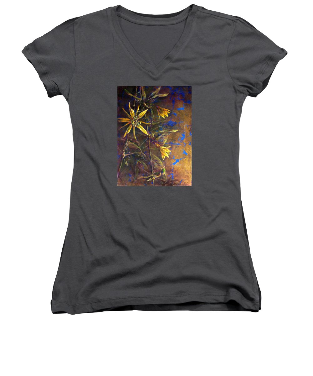 Floral Women's V-Neck featuring the painting Gold Passions by Ashley Kujan