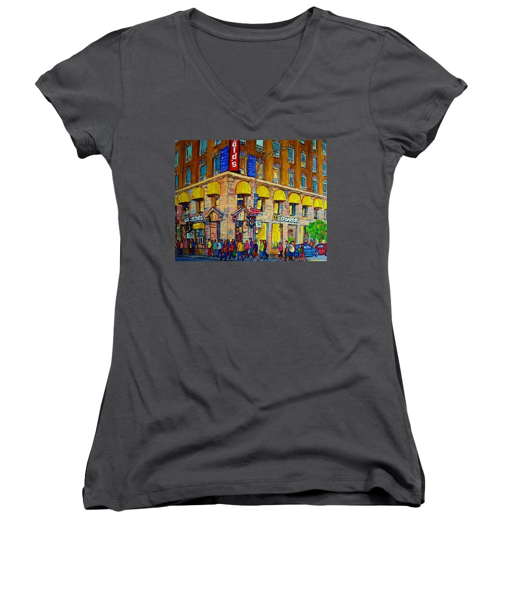 Mcdonald Restaurant Montreal Women's V-Neck (Athletic Fit) featuring the painting Mcdonald by Carole Spandau