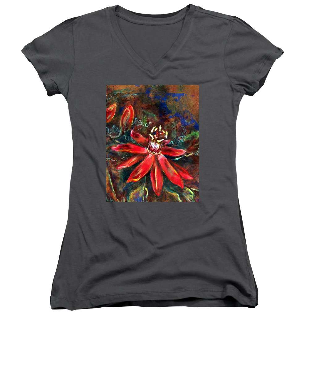 Floral Women's V-Neck featuring the painting Red Passion by Ashley Kujan