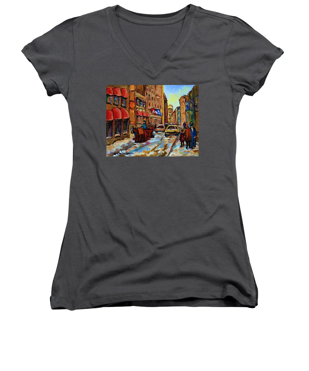 Horses Women's V-Neck (Athletic Fit) featuring the painting The Red Sled by Carole Spandau