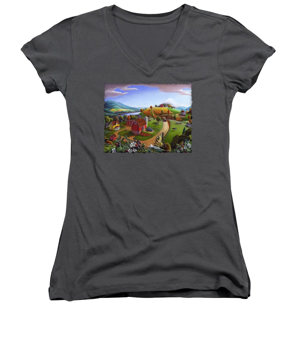 Rural Scenes Women's V-Neck T-Shirts