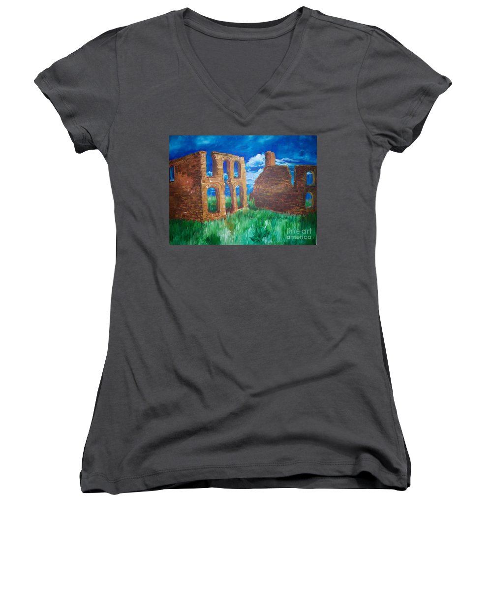 Western_landscapes Women's V-Neck T-Shirt featuring the painting Ghost Town by Eric Schiabor